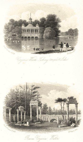 Associate Product SURREY. Virginia Water Fishing Temple & Lake; Ruins Virginia Water 1852 print