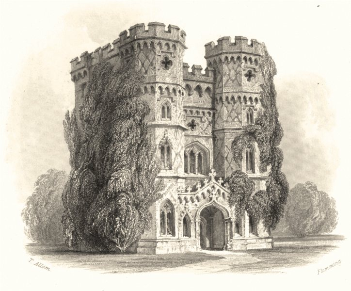 Associate Product SURREY. Wainflete's Tower Esher. Shewing the Principal Front c1855 old print