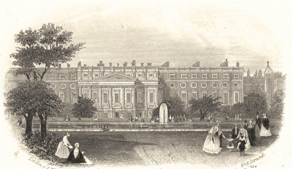 LONDON. Hampton Court Palace Le Palais de Hampton Court c1855 old print