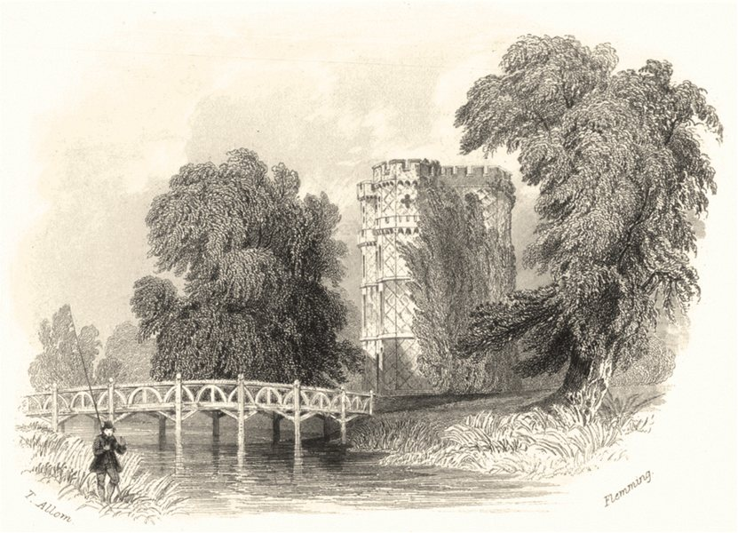 SURREY. Wainflete's Tower as seen from the opposite Meadow. (Allom) c1855