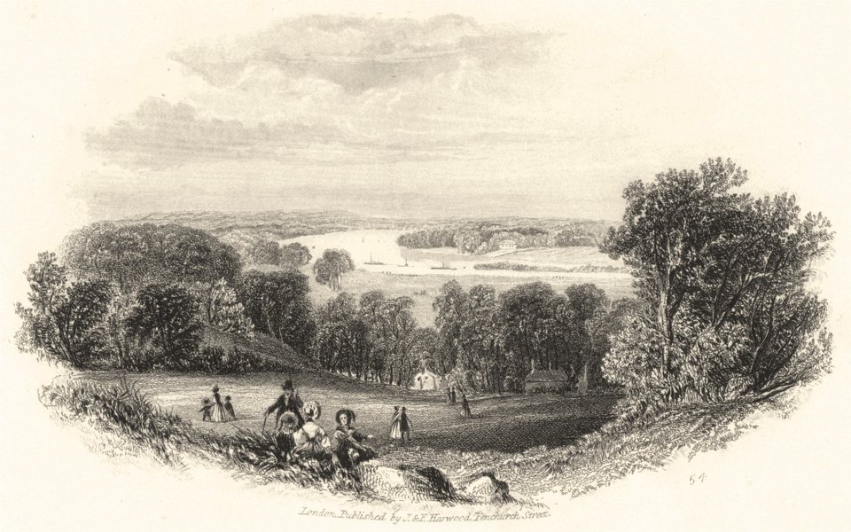 Associate Product LONDON. The Thames from Richmond Hill c1855 old antique vintage print picture