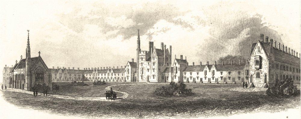 Associate Product SURREY. The Royal Medical Benevolent College Epsom c1855 old antique print