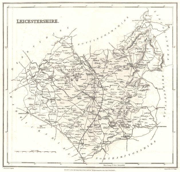 Associate Product LEICESTERSHIRE. Leics. Lewis c1840 old antique vintage map plan chart