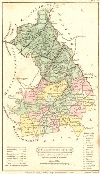 Associate Product CAMBRIDGESHIRE. Capper. Scarce Edition in Original Colour 1808 old antique map