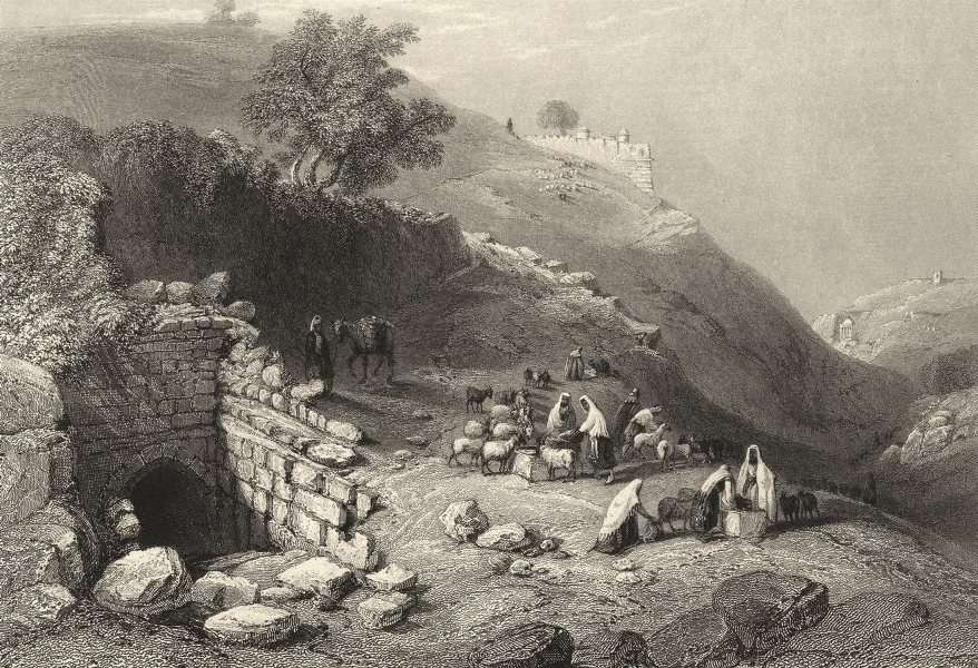 Associate Product ISRAEL. Palestine. Jerusalem. Well of the Virgin. (Bartlett) 1847 old print