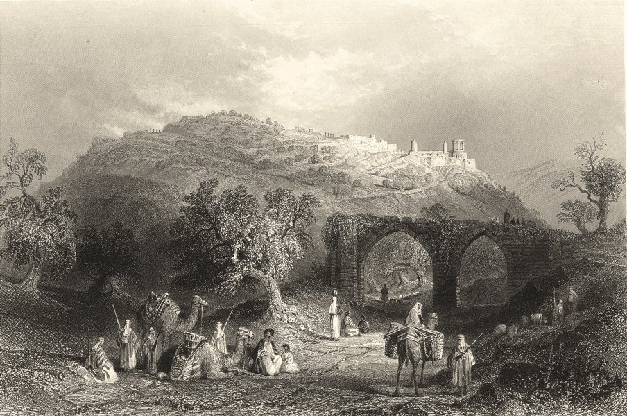 Associate Product ISRAEL. Jordan. Hill Samaria. 'The Hill'. Camels. town.  1847 old print