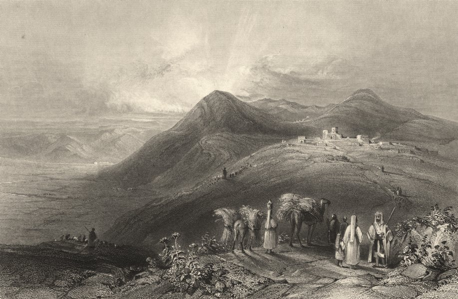 Associate Product ISRAEL. Palestine. Jezreel. Mt Gilboa. Beth- shan. Camels.  1847 old print