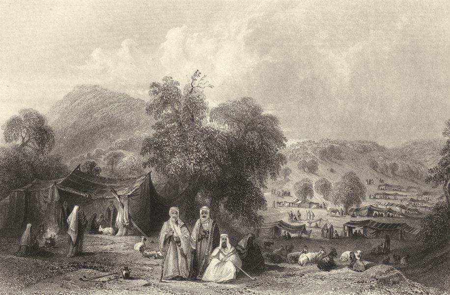 Associate Product ISRAEL. Palestine. Arab Camp near Mt Tabor. Figures. Goats.  1847 old print