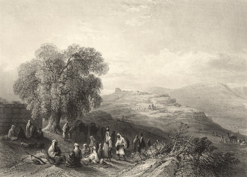 Associate Product ISRAEL. Israel Seilun- Site of Shiloh. Many figures. (Bartlett) 1847 old print