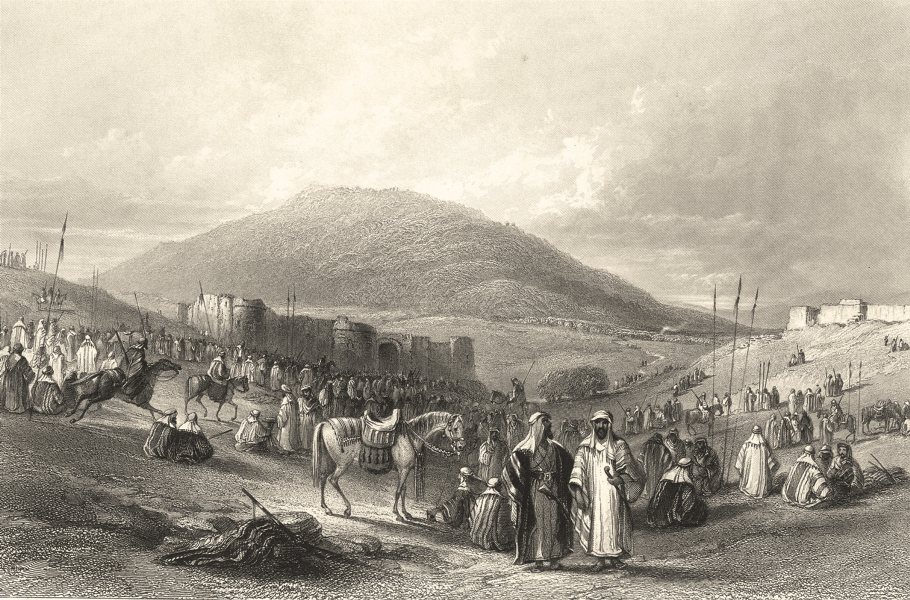 Associate Product ISRAEL. Palestine. Mt Tabor. Fair Khân Tujjar. busy scene.  1847 old print