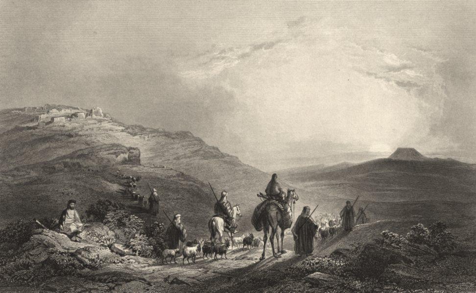 Associate Product ISRAEL. Palestine. Zekoa and the Herodium. (Bartlett) 1847 old antique print