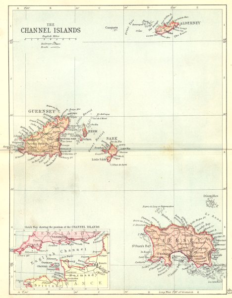 Associate Product CHANNEL ISLES. Cheshire Philip.  1888 old antique vintage map plan chart
