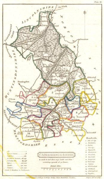 Associate Product CAMBRIDGESHIRE. Capper Original Outline Colouring 1808 old antique map chart