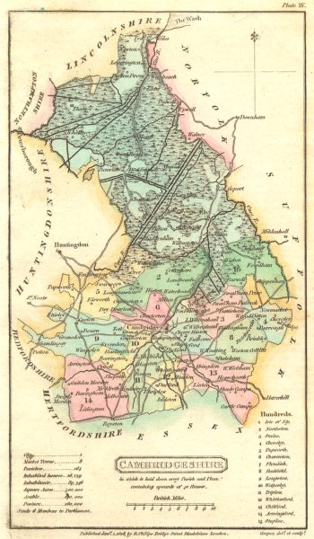 Associate Product CAMBRIDGESHIRE. Capper. Scarce Edition; Original Colour 1813 old antique map