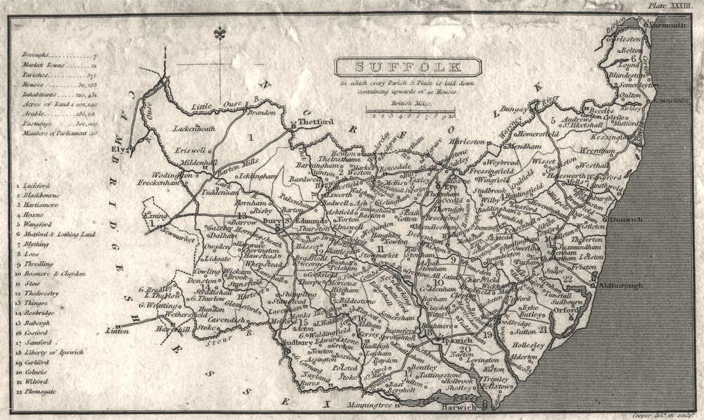 SUFFOLK. Capper. Not That Common.  1808 old antique vintage map plan chart