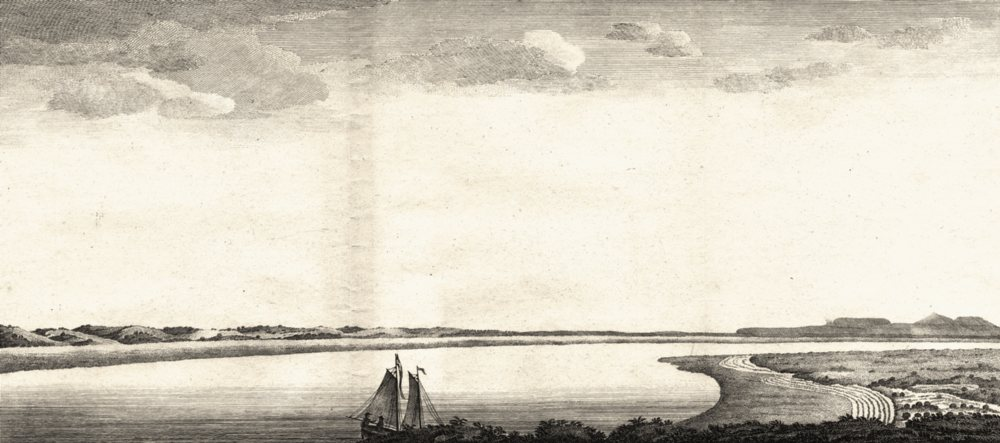 Associate Product ARGENTINA. View of St. Julian's River. Boat. Figures. (Anson) 1750 old print