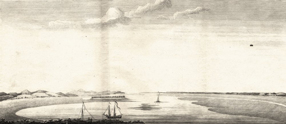 Associate Product ARGENTINA. View of Port St. Julian from True Justice island (Anson) 1750 print