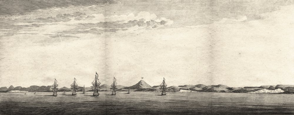 Associate Product ARGENTINA. View of The Bay of St. Julian. Ships (Anson) 1750 old antique print