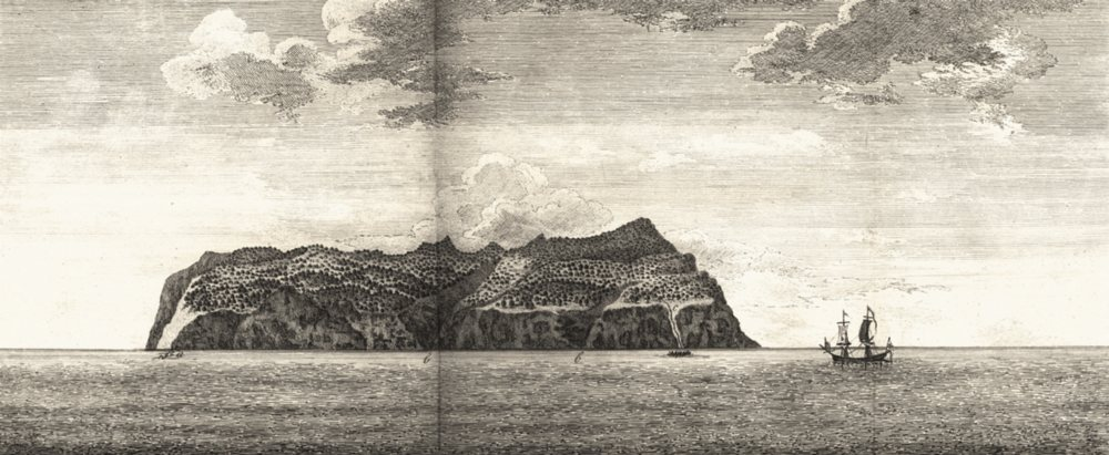 Associate Product CHILE. View of Masa Fuero. North Side. Ship. Rowing Boat (Anson) 1750 print