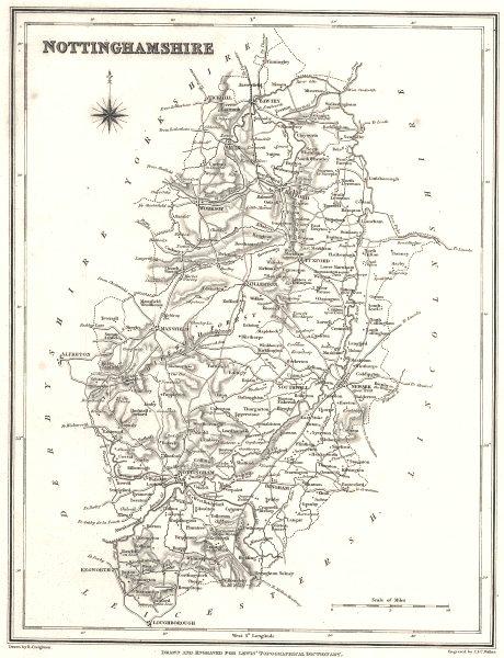 Associate Product NOTTINGHAMSHIRE. Notts. Lewis.  c1841 old antique vintage map plan chart
