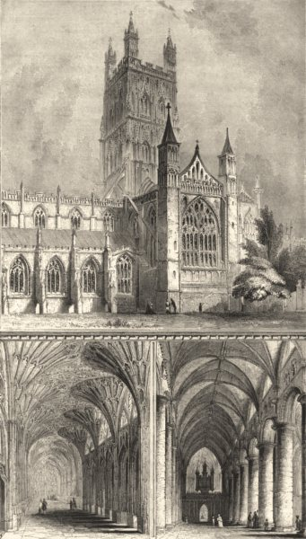Associate Product GLOUCESTERSHIRE. Glos Gloucester cathedral. / 2 1845 old antique print picture