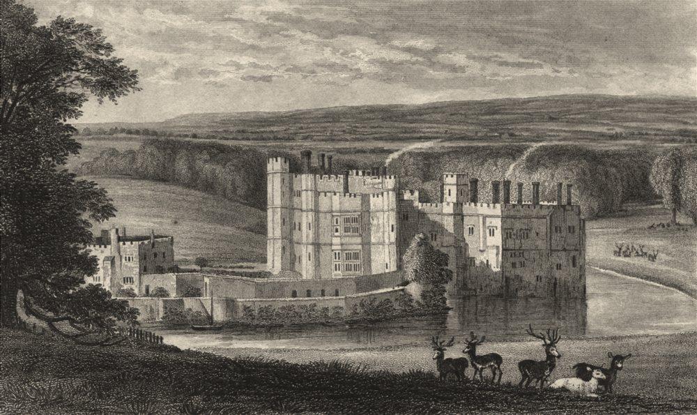 Associate Product KENT. Leeds Castle, Kent 1828 old antique vintage print picture