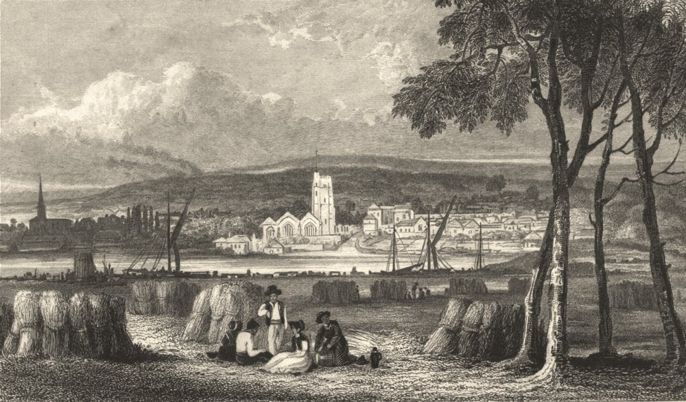 Associate Product KENT. Maidstone from a field Adjoining the London Road Kent 1828 old print