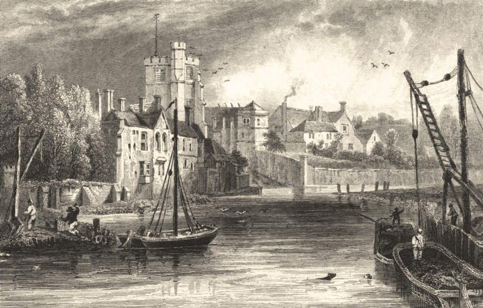 Associate Product KENT. Maidstone from the Water, Kent. (Bartlett) 1828 old antique print