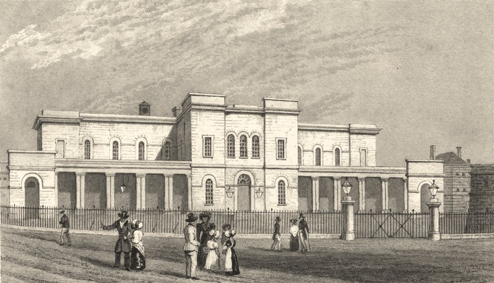 Associate Product KENT. The New Sessions House, Maidstone Kent 1828 old antique print picture