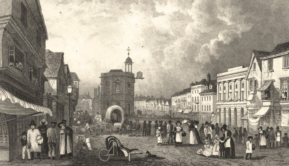 Associate Product KENT. High Street Maidstone, Kent 1828 old antique vintage print picture