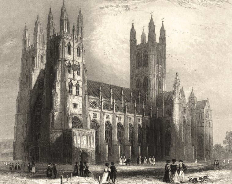 Associate Product KENT. Canterbury Cathedral South West View 1836 old antique print picture