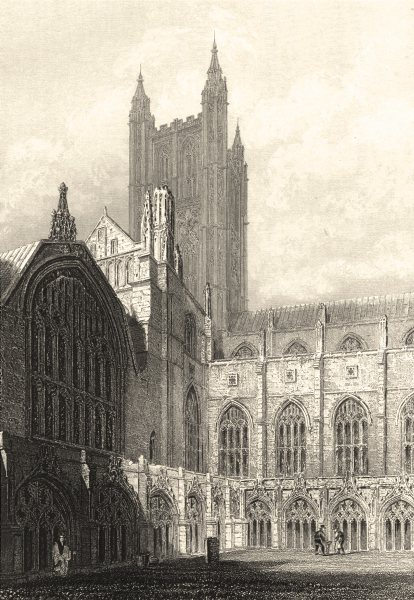KENT. Centerbury Cathedral view from the Cloisters. (Winkles) 1836 old print