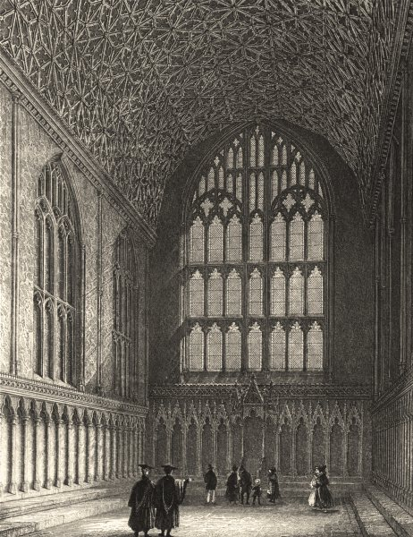 Associate Product KENT. Canterbury Cathedral view of the Chapter House 1836 old antique print