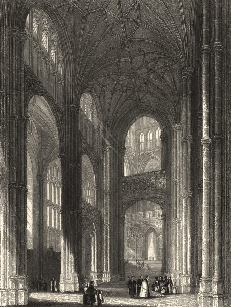 Associate Product KENT. Canterbury Cathedral view in the Nave. (Winkles) 1836 old antique print