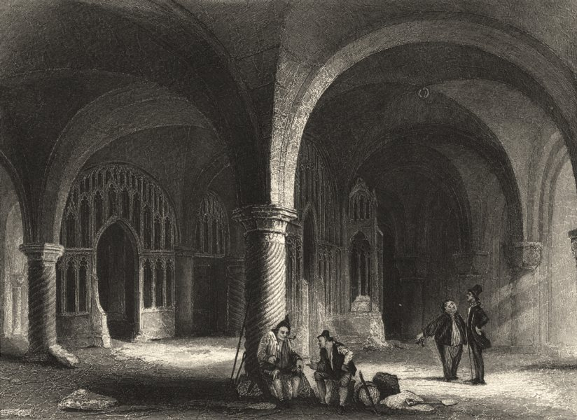 KENT. Canterbury Cathedral The Undercroft. (Winkles) 1836 old antique print