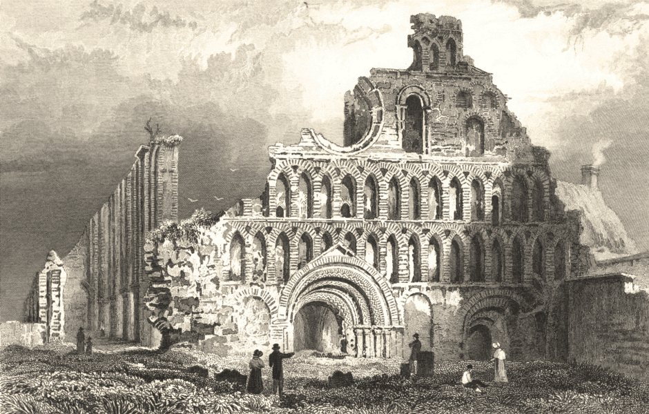 ESSEX. St Botolphs Priory Church, Colchester. (Bartlett/Wright) 1834 old print
