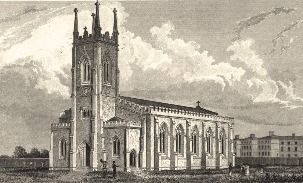 Associate Product KENT. The New Church Tunbridge Wells. Allen. (Bartlett/Winkles) 1833 old print