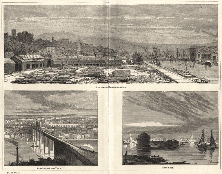 Associate Product WALES. Newport- Monnouthshire; Newcastle- Upon- Tyne; New York 1870 old print