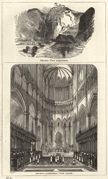 Associate Product SOMME. Amasya- The Acropolis; Amiens Cathedral- The Choir 1870 old print