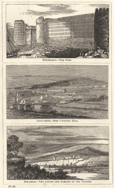 DEVON.Hyderabad-Ft;Ilfracombe,Capstone Hill;Inkerman-Valley remains village 1870