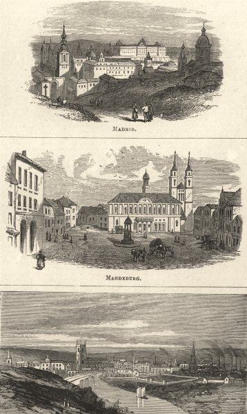 Associate Product GERMANY. Madrid; Magdeburg; Manchester- from the North- West 1870 old print