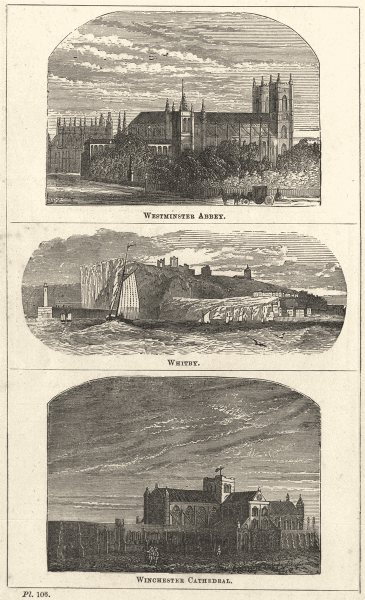 HAMPSHIRE. Westminster Abbey; Whitby; Winchester Cathedral 1870 old print