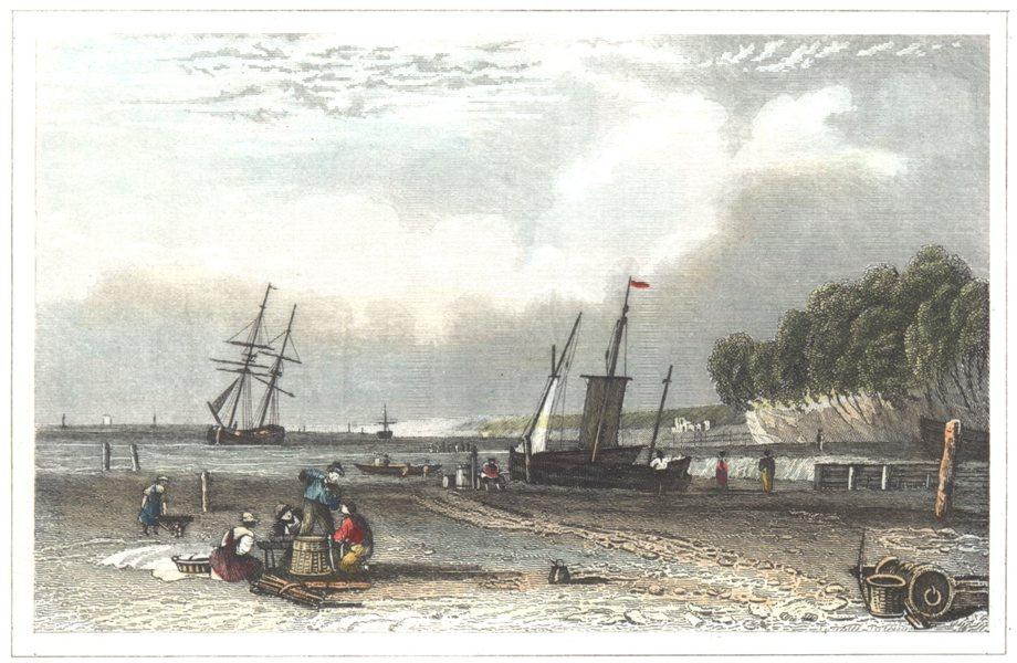 Associate Product KENT. Northfleet near Gravesend. Hand coloured (Dugdale) 1835 old print