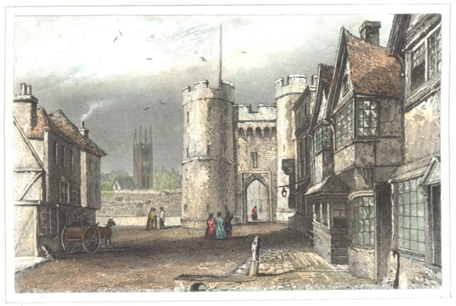 Associate Product KENT. West Gate. Canterbury. Hand coloured (Dugdale) 1835 old antique print