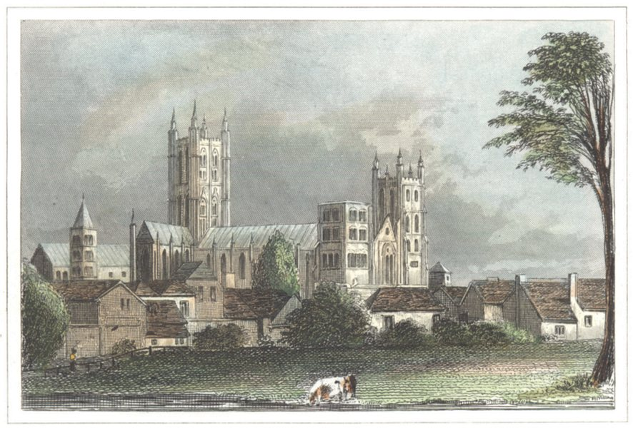 Associate Product KENT. Canterbury Cathedral. Hand coloured (Dugdale) 1835 old antique print