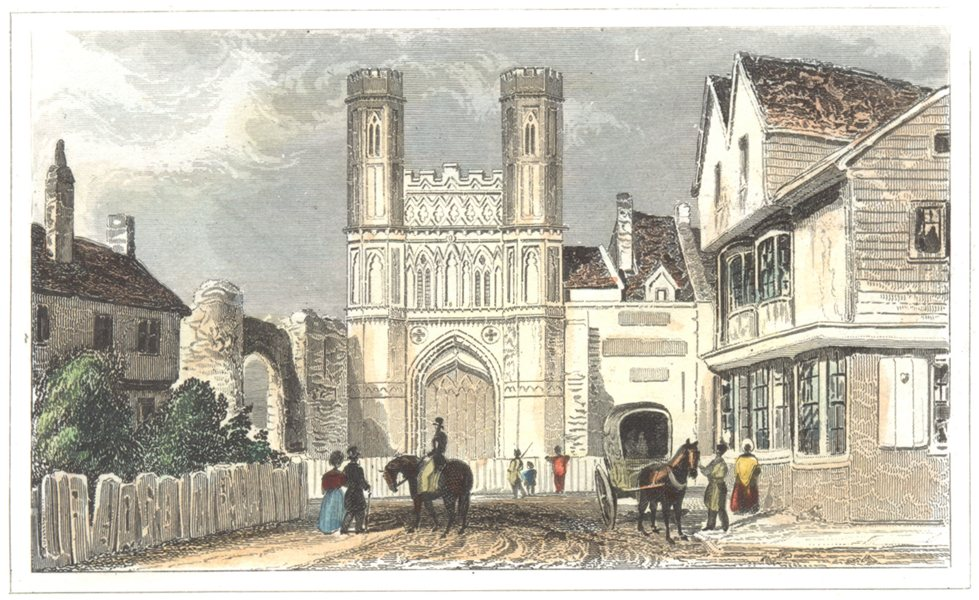 Associate Product KENT. St Augustine's Gate. Canterbury. Hand coloured (Dugdale) 1835 old print