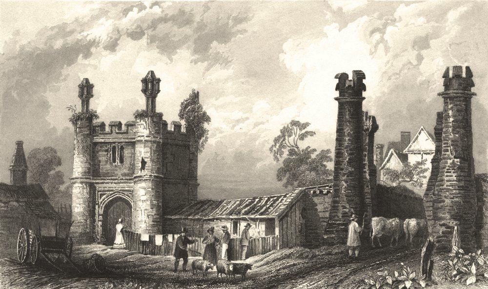 Associate Product ESSEX. Remains Beckenham Hall. Figures. cows. Cart. (Bartlett) 1834 old print