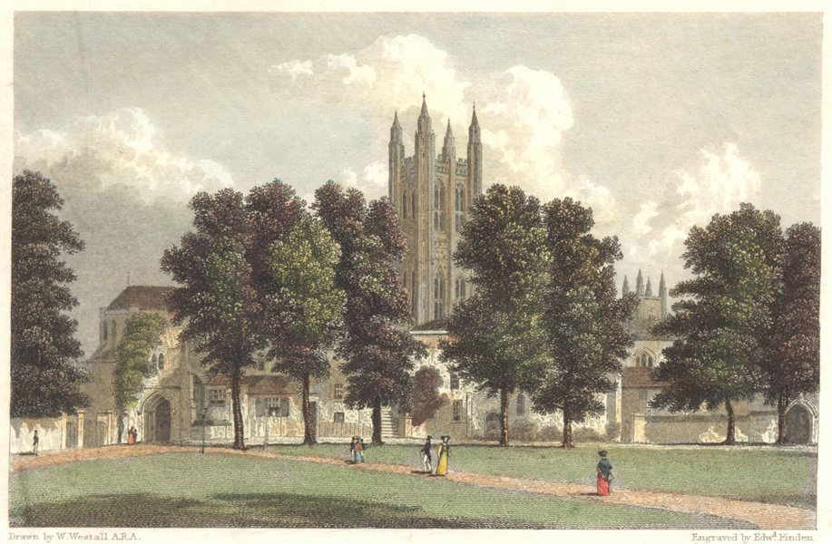 Associate Product KENT. Green Court. Canterbury. Hand coloured. (Finden/Westall) c1833 old print