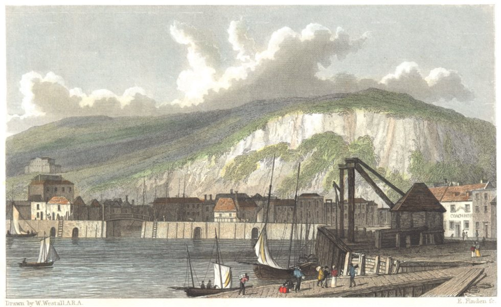 Associate Product KENT. Landing Place, Dover Outer Harbour. (Finden/Westall) c1833 old print