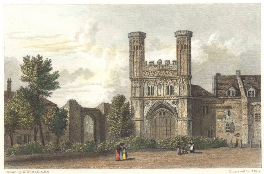 KENT. Canterbury Gate of St. Augustine. Hand coloured (Westall) c1833 print